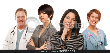 Mixed Race Ethnic Women with Doctors or Nurses stock photo, Attractive Mixed Race Ethnic Women with Doctors or Nurses Isolated on a White Background. by Andy Dean