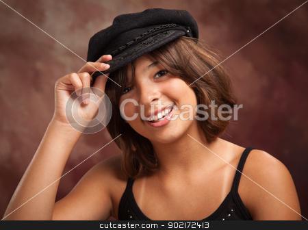 Pretty Hispanic Girl Studio Portrait stock photo, Pretty Hispanic Girl with Hat Studio Portrait. by Andy Dean