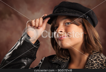 Pretty Hispanic Girl Studio Portrait stock photo, Pretty Hispanic Girl with Hat Studio Portrait. by Andy Dean