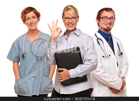 Businesswoman Making Okay Hand Sign with Doctors or Nurses stock photo, Businesswoman Making Okay Hand Sign with Two Doctors or Nurses Isolated on a White Background. by Andy Dean
