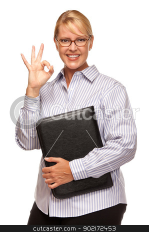 Attractive Blond Businesswoman with Okay Hand Sign on White stock photo, Attractive Smiling Blond Woman with Okay Hand Sign Isolated on a White Background. by Andy Dean