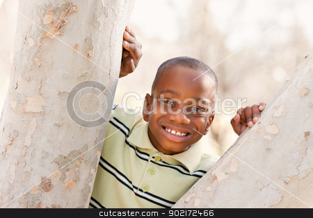 Young African American Boy Playing in the Park stock photo, Young Handsome African American Boy Playing in the Park. by Andy Dean