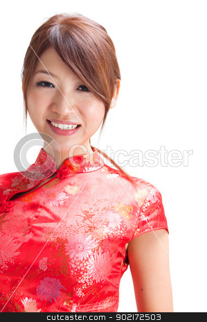Beautiful Chinese girl stock photo, Chinese girl in traditional Chinese cheongsam, isolated on white background  by szefei