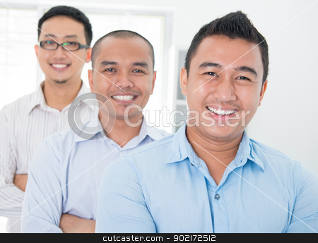 Southeast Asian business group stock photo, Southeast Asian business group standing in office by szefei