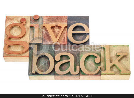 give back words in wood type stock photo, give back - isolated words in vintage letterpress wood type printing blocks by Marek Uliasz