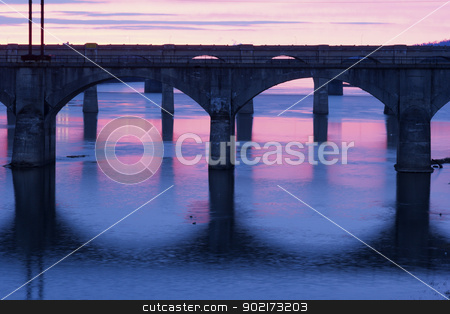 Bridges of Harrisburg stock photo, Bridges of Harrisburg at sunrise by Henryk Sadura