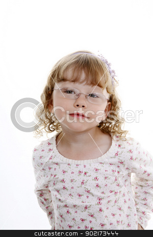 girl wearing glasses stock photo, preteen girl wearing glasses by sijohnsen