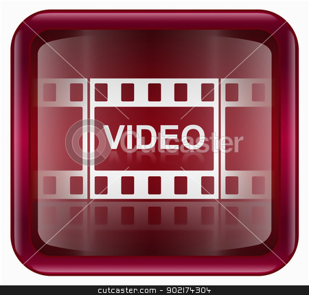 Film icon red, isolated on white background stock photo, Film icon red, isolated on white background by Andrey Zyk