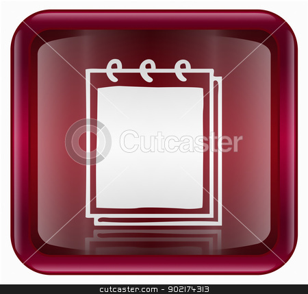 Notebook icon red, isolated on white background stock photo, Notebook icon red, isolated on white background by Andrey Zyk