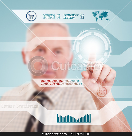 Digital concept stock photo, Elderly businessman pressing digital button, futuristic technology  by Grafvision