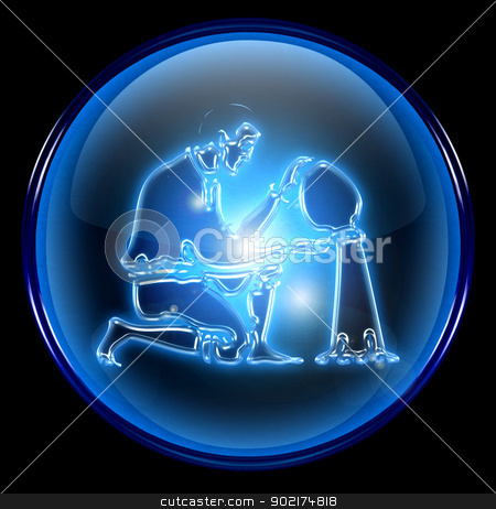 Aquarius zodiac button icon, isolated on black background. stock photo, Aquarius zodiac button icon, isolated on black background. by Andrey Zyk