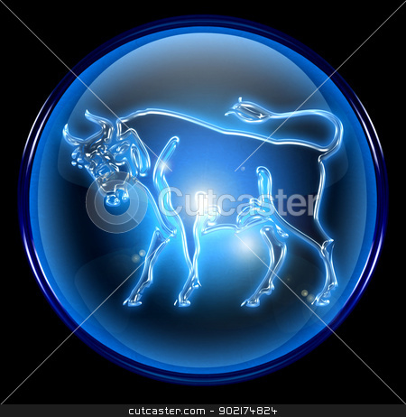 Taurus zodiac button icon, isolated on black background. stock photo, Taurus zodiac button icon, isolated on black background. by Andrey Zyk