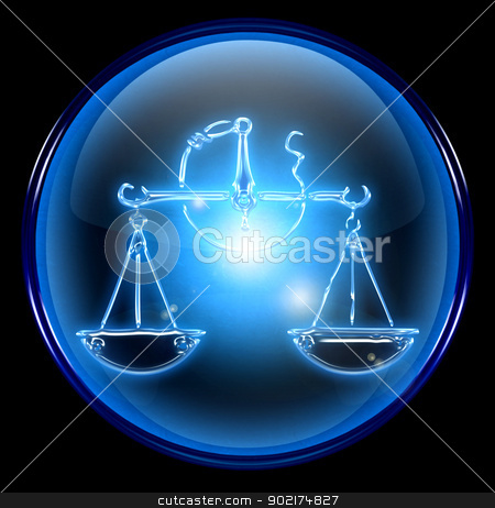 Libra zodiac button icon, isolated on black background. stock photo, Libra zodiac button icon, isolated on black background. by Andrey Zyk