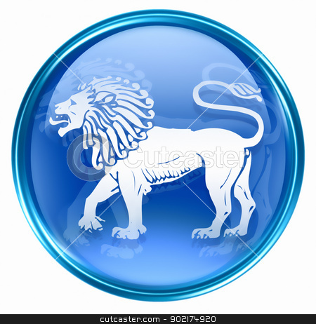 Lion zodiac button icon, isolated on white background. stock photo, Lion zodiac button icon, isolated on white background. by Andrey Zyk