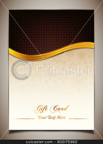 Brown gift card stock vector clipart, Brown gift card by muammer başer