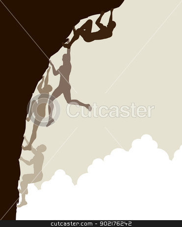 Free climb stock vector clipart, Editable vector silhouette sequence of a man free climbing without using safety ropes by Robert Adrian Hillman