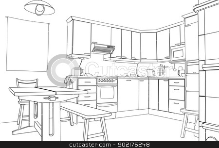Kitchen sketch stock vector clipart, Editable vector illustration of an outline sketch of a kitchen interior by Robert Adrian Hillman