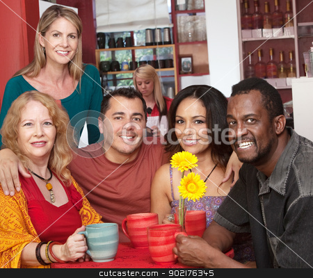 Smiling People in a Coffeehouse stock photo, Group of 5 smiling people in coffehouse by Scott Griessel