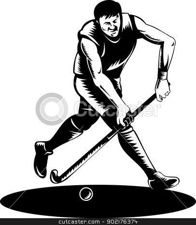 Field Hockey Player Running With Stick Retro stock vector clipart, Illustration of a hockey player running with stick striking ball done in retro woodcut style. by patrimonio