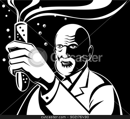 Crazy Mad Scientist Test Tube stock vector clipart, Illustration of a mad scientist holding up a test tube done in retro style. by patrimonio