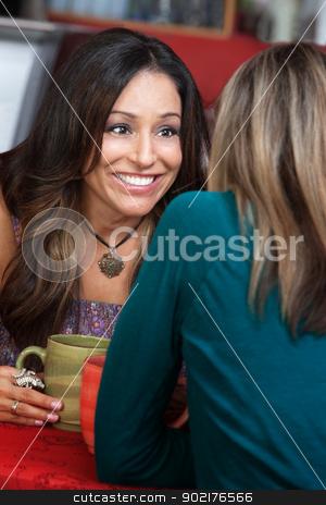 Joyful Pretty Lady with Friend stock photo, Joyful beautiful woman listening to her friend by Scott Griessel