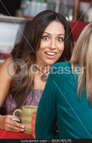 Shocked Woman with Smile in Cafe stock photo, Astonished mature woman talking with friend in coffeehouse by Scott Griessel