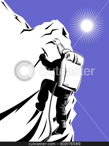 Mountain Climber Climbing Retro stock vector clipart, Illustration of mountain climber climbing done in retro woodcut style. by patrimonio