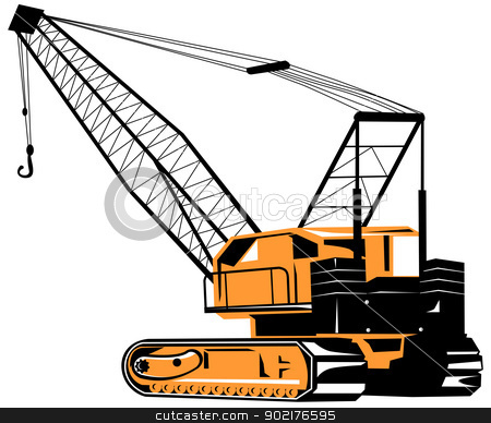 Construction Crane Hoist Retro stock vector clipart, Illustration of a construction crane hoist done in retro style. by patrimonio