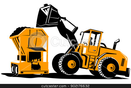 Front End Loader Digger Excavator Retro stock vector clipart, Illustration of a front end loader construction digger mechanical excavator done in retro style on isolated white background. by patrimonio