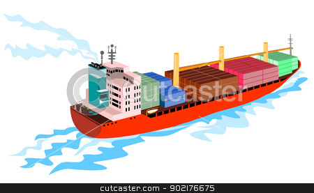 Container Ship Cargo Boat Retro stock vector clipart, illustration of a cargo container ship done in retro style by patrimonio