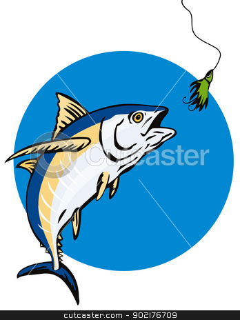 Albacore Tuna Fish Retro stock vector clipart, Illustration of an albacore tuna fish done in retro style. by patrimonio