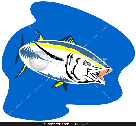 Yellow Fin Tuna Fish Retro stock vector clipart, Illustration of a yellow fin tuna fish done in retro style. by patrimonio