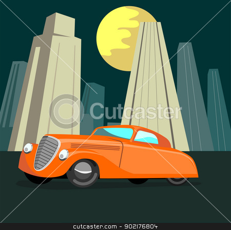 Vintage Automobile Building Retro stock vector clipart, Illustration of a vintage automobile with moon and buildings in the background. by patrimonio