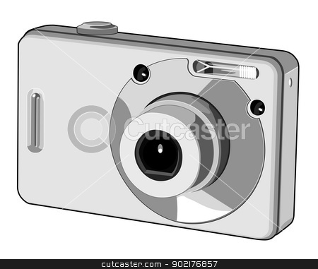 Digital Camera Retro stock vector clipart, Illustration of a digital camera done in retro style. by patrimonio