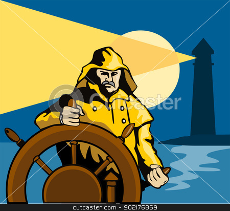 Fisherman Sea Captain Helm Retro stock vector clipart, Illustration of a fisherman sea captain at the helm steering wheel retro style. by patrimonio