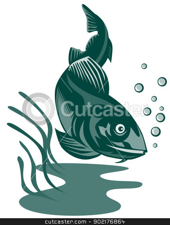 Atlantic Codfish Retro stock vector clipart, Illustration of an atlantic codfish done in retro style. by patrimonio