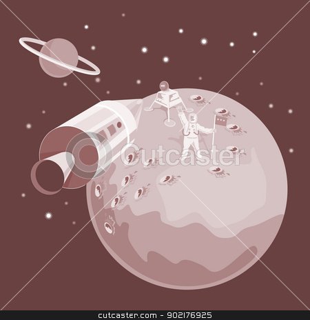 Astronaut Landing On Moon retro stock vector clipart, Illustration of an astronaut landing on the moon with rocket spaceship and planet done in retro style. by patrimonio