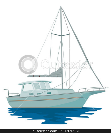 Sailboat Retro stock vector clipart, Illustration of a sailboat yacht done in retro style by patrimonio