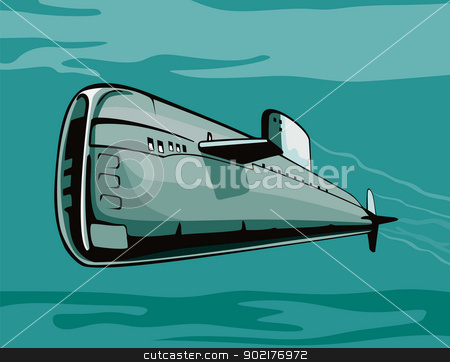 Submarine Boat Retro stock vector clipart, Illustration of a submarine boat going up the water surface with battleship in background done in retro style. by patrimonio