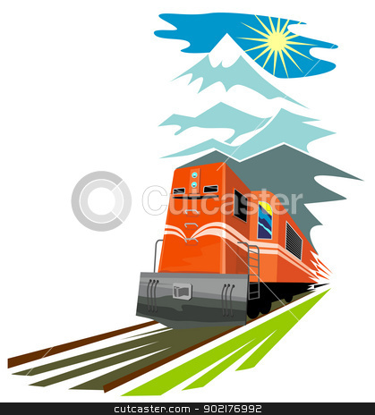 Diesel Train Retro stock vector clipart, Illustration of a diesel train viewed from a high angle done in retro style on isolated white background. by patrimonio