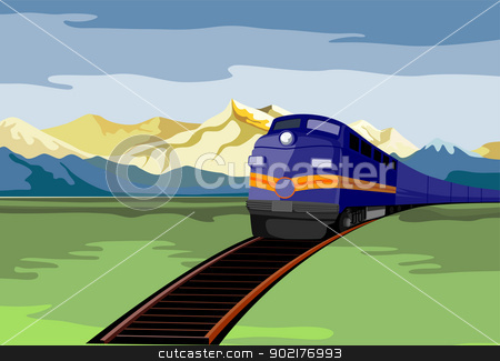 Diesel Train Retro stock vector clipart, Illustration of a diesel train viewed from a high angle done in retro style. by patrimonio