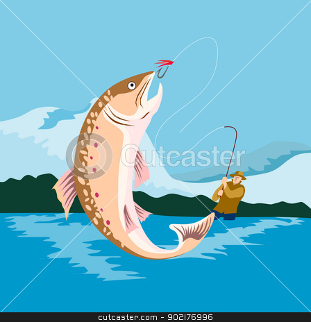 Trout Fish Retro stock vector clipart, Illustration of a trout fish done in retro style by patrimonio
