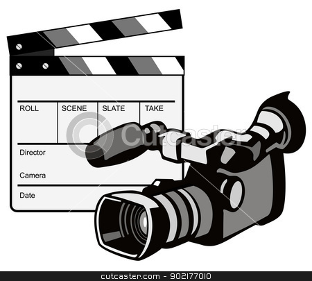 Video Camera Movie Clapboard Retro stock vector clipart, Illustration of a video camera with movie clapboard clapper board done in retro style. by patrimonio