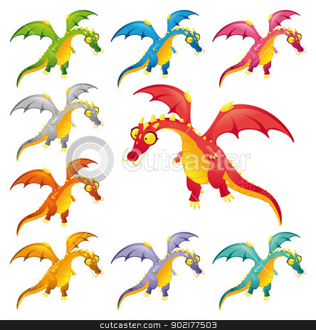 Set of colored dragons. stock vector clipart, Set of colored dragons. Funny cartoon and vector characters. by ddraw