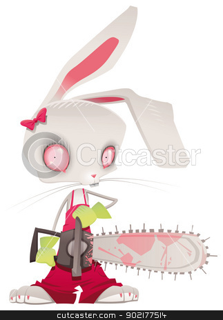 Horror bunny. stock vector clipart, Horror bunny. Vector and cartoon illustration, isolated character by ddraw