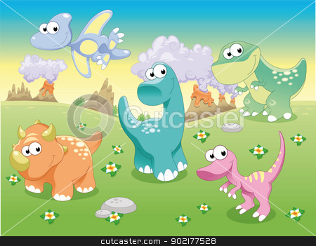 Dinosaurs Family with background. stock vector clipart, Dinosaurs Family with background. Funny cartoon and vector illustration. Isolated objects. by ddraw