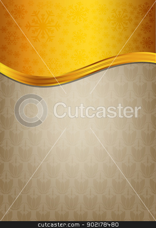 Abstract brown celebration paper with golden ribbon stock vector clipart, Abstract brown celebration paper with golden ribbon by muammer başer