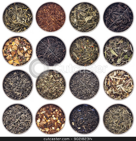 green, white, black and herbal tea stock photo, 16 samples of loose leaf green, white, black, red, and herbal tea in metal cans isolated on white by Marek Uliasz