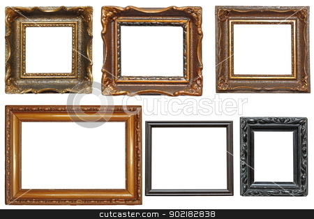 collection of very old painting frames stock photo, collection of beautiful old wooden frames for paintings isolated on white background by coroiu octavian