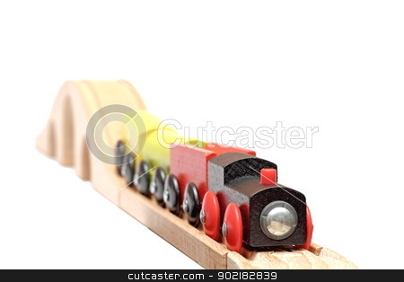 colorful wooden train stock photo, colorful wooden train coming on his track - short depth of field by coroiu octavian